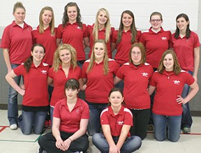Members of the South Winn girls golf team in 2013 are, from left, front row - Sabrina Claman, Hattie Frana. Second row - Christina Wagner, Sadie Gibson, Andrea Zweibahmer Jordan Reisner, Jaimie Elsbernd. Back row - Eleanor Lofte, Caitlin Holien, Megan Elsbernd, Megan Bushman, Megan Hageman, Miranda Fisher, Taylor Claman. (Photo by Jennifer Bissell)