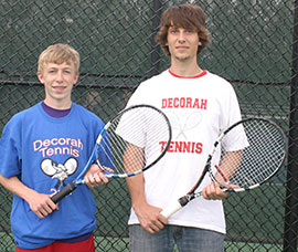 Sophomore Gable Lonning (L) and senior Lucas Hunter will compete at the doubles tournament. It is Hunter's second appearance at state and Lonning's first. (Photos by Jennifer Bissell)