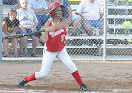 Freshman Morgan Bohr gets set to swing at the pitch in a recent game. (Photo by Jennifer Bissell)