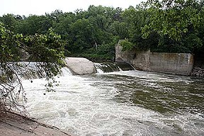 Upper Dam on the Upper Iowa River east of Decorah. (Photo by Sarah Strandberg)