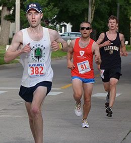 Former Decorah sports editor Tyler Strand (No. 382) leads a pack. Also pictured are Jeff Freund (C) of Denver, Colo., and Thomas Knobbe (R) of Decorah. (Photo courtesy Clara Knudson)