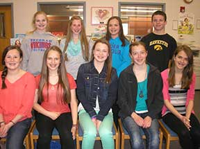 From left (front row): Kelsey Maher, Kaitlyn Rooney, Madilyn Fahey, Emily Franzen, Abigail Toussaint, Brynne Valkosky, Jenna Galligan, Emma Rooney and Jake Muhlbauer. Missing is Allison Groux. (Submitted photo)