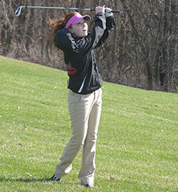 Junior Talia Raddatz led the Vikings with a 52 Monday against New Hampton. (Photo by Jennifer Bissell)