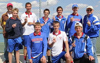 The Decorah boys tennis team won the Mason City Tournament Saturday. Pictured are, from left, front row - Gable Lonning, Ryan Hageman, Brett LaRue, Karl Sand. Back row - Assistant Coach Gordy Hunter, C.J. Cliff, Caleb Ulring, T.J. Misseldine, Will Yahr, Head Coach Reg Laursen. (Photo courtesy Kealy Connor Lonning)
