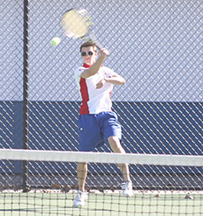 Caleb Ulring (pictured) combined with Karl Sand to win at No. 1 doubles Tuesday. (Photo by Jennifer Bissell)