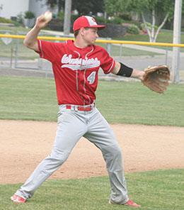 Third baseman Tyler Numedahl makes the clean pick-up and throws to first for the out in a recent game. (Photo by Jennifer Bissell)
