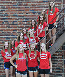 Members of the 2014 South Winn girls cross country team are, from left, standing in front - Alexa Jacobsen, RaeAnn Klimesh, Kelly Kubushouk. Middle row - Morgan Martin, Jaimie Elsbernd, Felicity Taylor, Josie Kriener, Nicole Kuboushek. Back row - Kenzie Jones, Monica Schwartzhoff, Lee Balik, Jessica Lechtenberg. (Photo submitted)