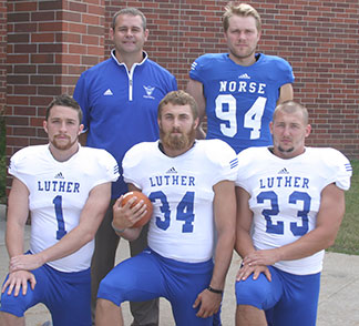 Captains for the 2014 Luther squad are, from left, front row - J.J. Sirios, Alex Hain, Josh Vos. Back row - Head Coach Aaron Hafner, Dan Wheelock.