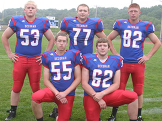 At left, linemen returning with a letter for the Vikings are, from left, front row - Chris Hartman, Carter Zidlicky. Back row - Grant Grinna, Cory Anderson, Eric Syverson.