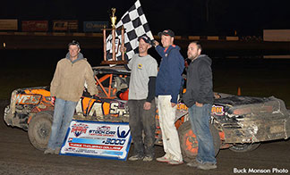 Dillon Anderson (second from left) earned top honors in the USRA Stock Car championship. (Photo courtesy Buck Monson Photo and United States Racing Association)