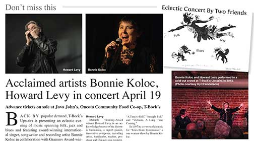 Acclaimed artists Bonnie Koloc,  Howard Levy in concert April 19