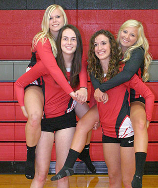 Senior power; TV volleyball features nine veterans