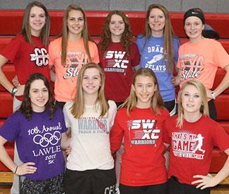 Returning letter winners for the South Winn girls track team are, from left, front row - Ellie Loesch, Ashley Kriener, Sami Bohr, Felicity Taylor. Back row - Melissa Ward, Tiana Bullerman, Josie Kriener, Morgan Martin, Olivia Massman. (Photo by Jennifer Bissell)