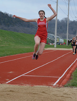 Amber Brincks took 12th in the long jump Monday night. (Photo by Becky Walz)