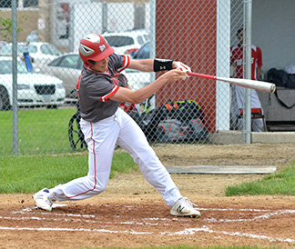 A pair of doubles by Logan Hageman gave South Winn a chance to come back for a win versus Denver Friday night; however, the Warriors fell short, 3-0, in game two. (Photo by Becky Walz)