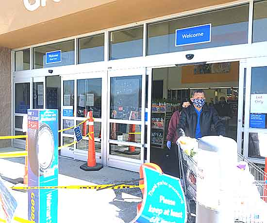 On Saturday, Walmart began limiting the number of customers allowed inside its stores due the coronavirus pandemic. (Photo by Roz Weis)
