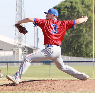 Decorah Cael Luzum struck out nine in his six innings on the hill Tuesday night. (Photo courtesy of Nate Troy/Cresco Times Plain Dealer)